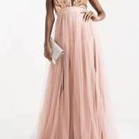 Runway Sequin Sheer Maxi Dress - Rose Gold