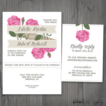 Roses invitation, elegant wedding, printable invitation, spring wedding