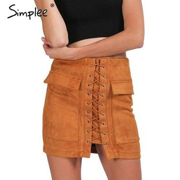 LMFUS4 Simplee Apparel Autumn lace up suede leather women skirt 90's Vintage pocket preppy short skirt Winter high waist casual skirts