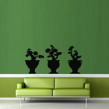 Wall decal decor decals art bonsai tree Japan plant mini China art decoration (m675)