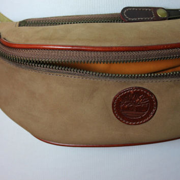 23252ca36d4 Vintage Suede Leather Timberland Fanny Pack Bum Bag Belted Made in USA