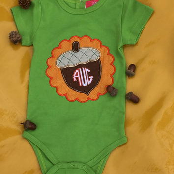 Fall- Acorn Monogram Infant Bodysuit or shirt -