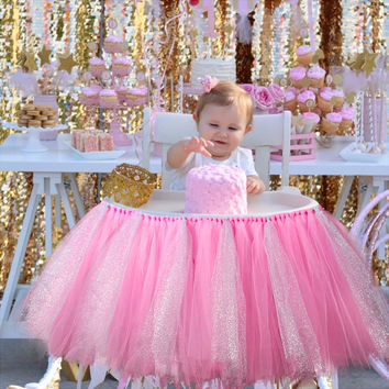 Tutu Tulle Table Skirts Baby Shower Decoration for High Chair Home Textiles Party Supplies Pink Blue 1pcs/lot