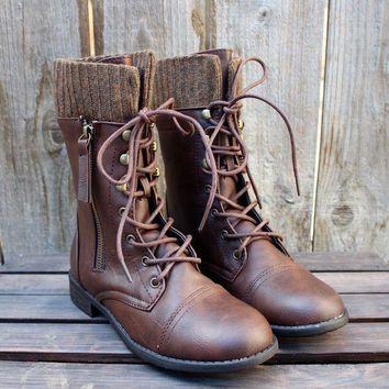 CREYJ2S FINAL SALE - the brown combat sweater boots