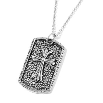 "Black Oxidized Stainless Steel Cross Pendant with 24"" Chain"