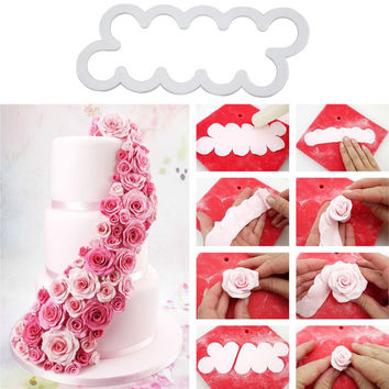 3PCS DIY Embossed Cupcake Decoration Plastic Easiest Rose Baking Pastry Cutter Flower Fondant Cake Decorating