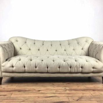 Contemporary Button Tufted Chesterfield Gray Upholstered Sofa