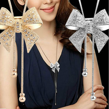 New Lady Chic Long Rhinestone Statement Shiny Bow Pendant Silver Plated Butterfly Chain Women Necklace Jewelry