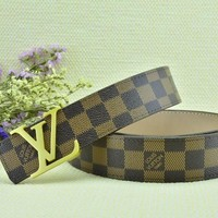 Cheap Louis Vuitton Woman Men Fashion Smooth Buckle Belt Leather Belt for sale q_2291738334_089