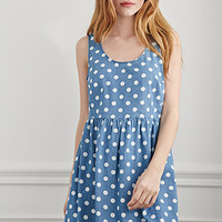 Dotted Chambray Babydoll Dress