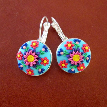 polymer clay earrings,floral dangle earrings,flower earrings,ready to ship jewelry,cameo earrings,gift ideas for mom,colorful earrings,pink
