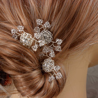 Crystal Baby's Breath Bridal Hair Combs Wedding by LizardiBridal
