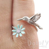 3D Hummingbird and Flower Wrap Around Adjustable Ring in Silver