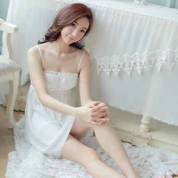 lovely summer Princess sling paja mas nightdress Nightgown girl sexy Palace White Women nightwear roupao feminino Sleepshirts