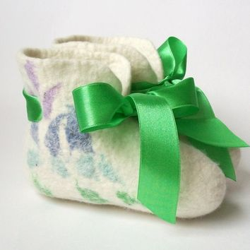 Felted babies booties white green pink Made to order