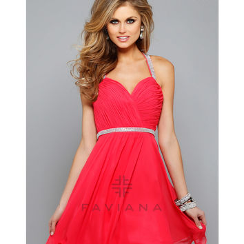 Preorder - Faviana 7663 Guava Chiffon Ruched Bodice Short Dress 2015 Homecoming Dresses