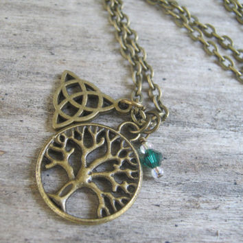 Tree of Life Triquetra Necklace, BRONZE Charm, Celtic Triquetra, Personalized Birthstone Jewelry, Wiccan Necklace, Choose Your Length, Boho