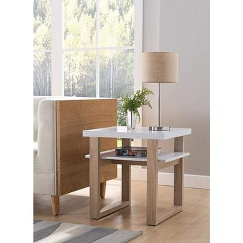 Two Tone Wooden End Table With Drawer, White And Brown