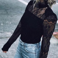Black Patchwork Lace Band Collar Long Sleeve Fashion Blouse