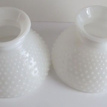 PR Milk Glass Lamp Shade Hobnail Lamp Globe Ring Fitting Shades Matching Pair Lamp Globes White Glass Lamp Globes Trending Items