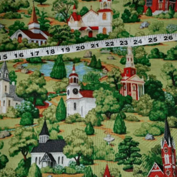 Scenic church fabric steeples trees cotton print quilters sewing material to sew BTY by the yard, fabric with churches  crafting projects