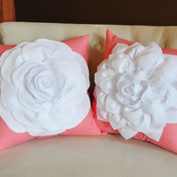 Decorative Pillows for Couch - Decorative Pillow Set - White Dahlia and White Rose on Coral 14 X 14 Pillows