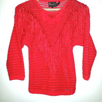 Vintage 80's Red New Wave Sweater with Fringe Tassels made by Rochelle California Hipster Boho Hippie. Size small/petite.