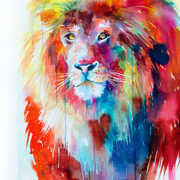 Lion watercolor painting print , animal, illustration, animal watercolor, animals paintings, animals, portrait,