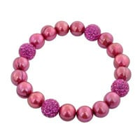 "Honora Sterling Silver 9-10mm ""Pop Star"" Cherry Round Ringed Freshwater Cultured Pearl and 10mm Pave Crystal Bead"
