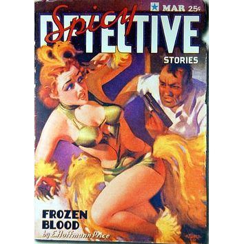 Pulp Fiction Novel Art Poster Spicy Detective Frozen Blood 27inx40in