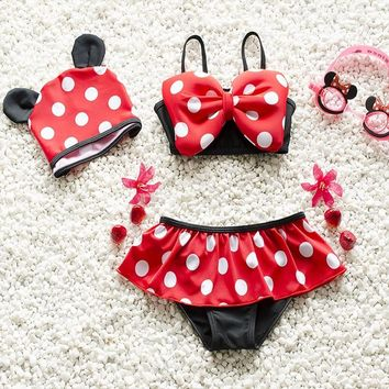 3-8years With Cap Mickey Minnie Mouse Red Dot Swimwear Costume Children Kids Girls One Piece Swimsuit Bathing Swimming Suit