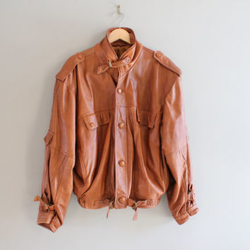 Chestnut Brown Leather Jacket Premium Genuine Leather Bomber 90s Tan Leather Bomber Slouchy Vintage  Size M - L