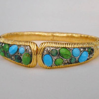 Alexis Bittar Elements Encrusted Turquoise Clamper Bangle Bracelet