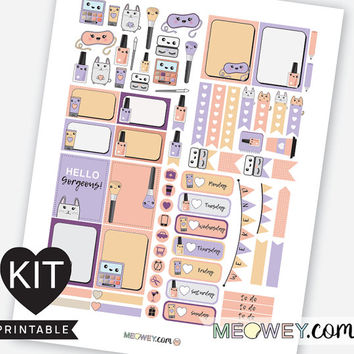 Beauty Kawaii Stickers Weekly Planner Kit Printables Erin Condren Bunny Purple Make Up Eye Lashes Palette Digital Download Package Meowey