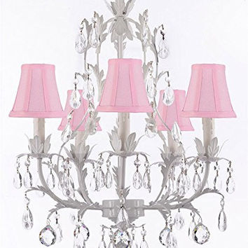 White Wrought Iron Floral Chandelier Lighting W/ Crystal Balls And Shades! - G7-Sc/Pinkshade/B6/White/407/5