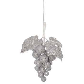 """6.5"""" Silver Sleigh Ride Glittered and Sequined Grape Cluster Christmas Ornament"""