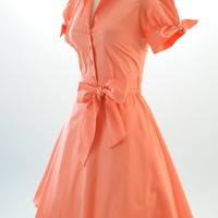 50s Style CORAL Tie Sleeve Full Skirt Rockabilly PINUP Day Dress w/ SASH Belt