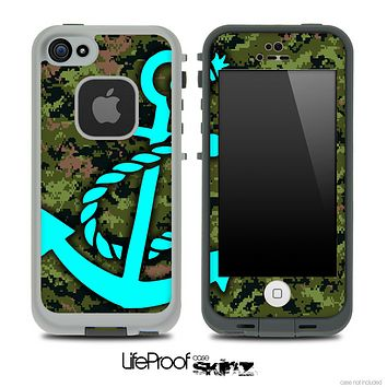 Digital Camouflage V3 Print and Turquoise Anchor Skin for the iPhone 5 or 4/4s LifeProof Case