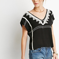 Geo-Embroidered Boxy Top