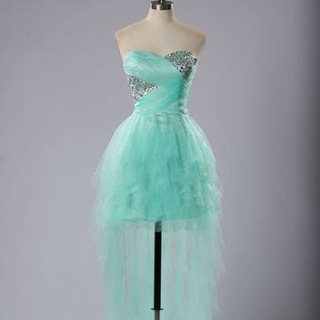Vestido De Festa Curto Fresh Mint Green Cocktail Dress Fast Shipping Sweetheart Beading Short Front Long Back Cocktail Gowns
