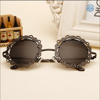 Black Round Sunglasses,Hollowed-Out Metal Frame Party Sunglasses, Wedding Sunglasses, Wedding Favors,Eyewear