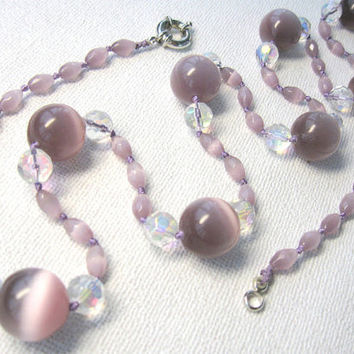 Cat Eye Necklace, Light Purple Lilac Beaded Necklace, OOAK Long Statement Necklace