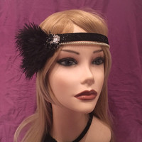 1920's Flapper Black & Gold Ostrich Feather headband head piece wedding art deco 20s satin ribbon headpiece gatsby 1920s Pearl Crystal (658)