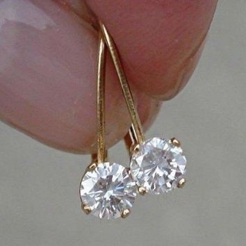 Luxinelle 1/2 Carat Diamond Earrings - Solitaire Leverback Drop 14K (Yellow Gold, White Gold and Rose Gold)