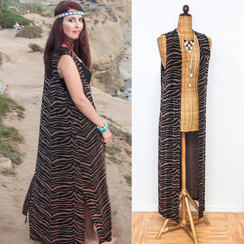 Long Vintage Zebra Duster | Boho Witchy Gypsy Floor-Length Vest | Brown and Black Animal Print 90s Grunge Waistcoat | Vintage Hippie Vest
