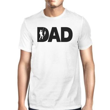 Dad Fish Mens White T-Shirt Funny Gifts For Dad