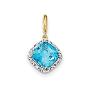 0.1 Ct  14k Yellow Gold Lt. Swiss Blue Topaz W/diamond Halo Pendant