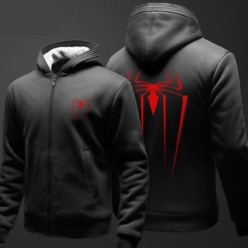 Marvel Superhero Spiderman Zip Hoodies Mens Boy Students Fashion Thicker Coat For Winter Youth Lovely Clothes 3XL Red Sweatshirt
