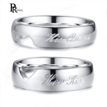 Cool His Queen and Her King Couple Wedding Ring for Women Men Silver Color Heart Love Promise Gift AllianceAT_93_12