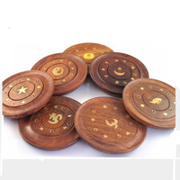 New Arrival Cocobolo Incense Holder Incense Stick And Cone Burner With Brass Inlay Wooden Incense Plate Decor Pattern Randomly